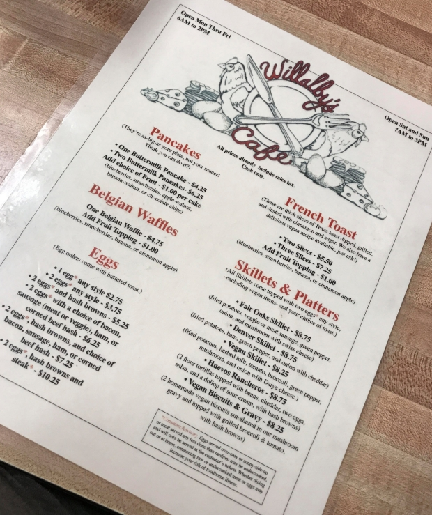 Willabys Menu
